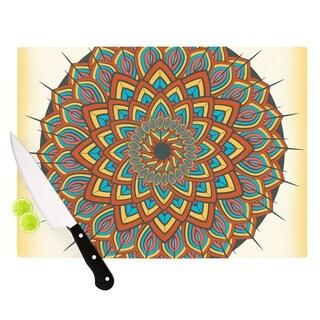 Kess InHouse Famenxt 'Floral Mandala' Multicolor Geometric Cutting Board