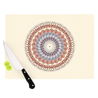 KESS InHouse Famenxt 'Vintage Mandala' Yellow Multicolor Cutting Board