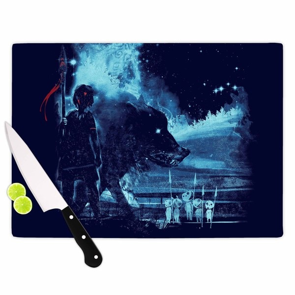 Kess InHouse Frederic Levy-Hadida 'Nature Defenders' Blue Glass Cutting Board