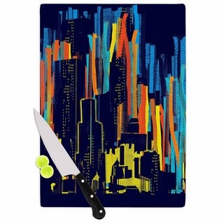 Kess InHouse Frederic Levy-Hadida 'Strippy City' Blue Glass Cutting Board