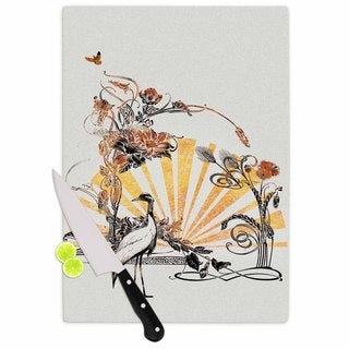 Kess InHouse Frederic Levy-Hadida Art Nouveau Tune Beige and Orange Glass Cutting Board