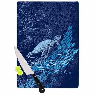 KESS InHouse Frederic Levy-Hadida 'The Turtle Way' Aqua Blue Cutting Board