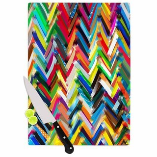 Kess InHouse Frederic Levy-Hadida 'Chevrons' Rainbow Glass Cutting Board
