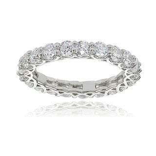 Link to Icz Stonez Sterling Silver Cubic Zirconia 3mm Round-cut Eternity Band Ring Similar Items in Rings