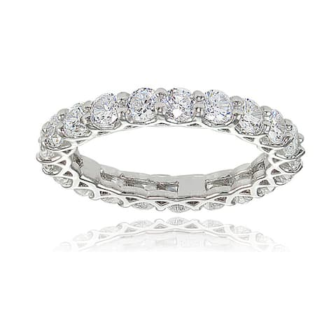 Icz Stonez Sterling Silver Cubic Zirconia 3mm Round-cut Eternity Band Ring