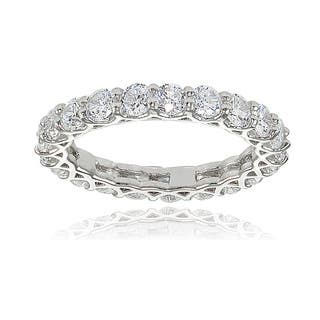 Icz Stonez Sterling Silver Cubic Zirconia 3mm Round-cut Eternity Band Ring (Option: Yellow)|https://ak1.ostkcdn.com/images/products/13139081/P19866704.jpg?impolicy=medium