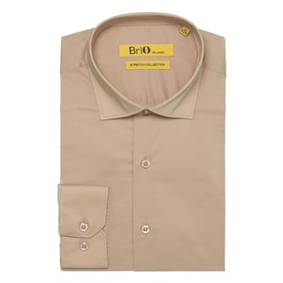Brio Milano Mens Long Sleeve Solid Beige Dress Shirt