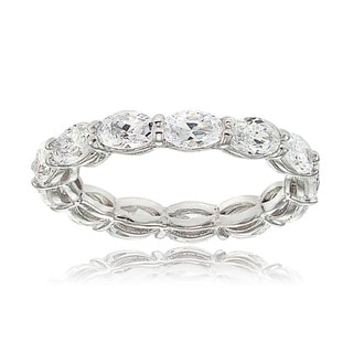 Sterling Silver Cubic Zirconia 5x3mm Oval-cut Eternity Band Ring