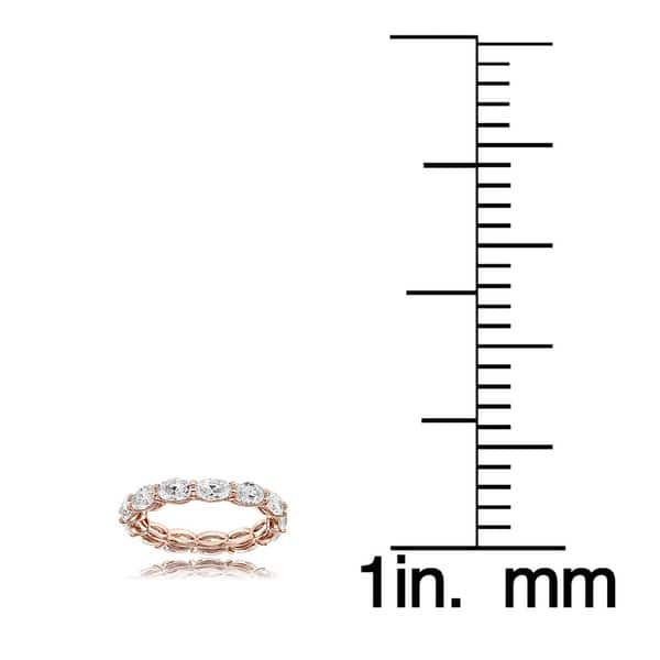 Hoops /& Loops Sterling Silver Cubic Zirconia 5x3mm Oval-Cut Eternity Band Ring