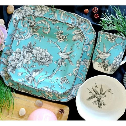 222 Fifth Adelaide Turquoise Porcelain Dinnerware (Case of 16)