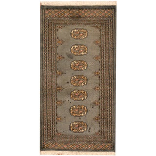 Herat Oriental Pakistani Hand-knotted Bokhara Wool Rug (2'2 x 4'1)