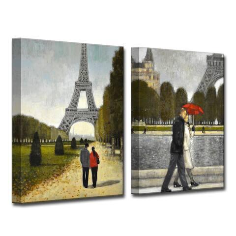 Romantic Stroll I/II' by Norman Wyatt, Jr 2-Piece Canvas Wall Art Set