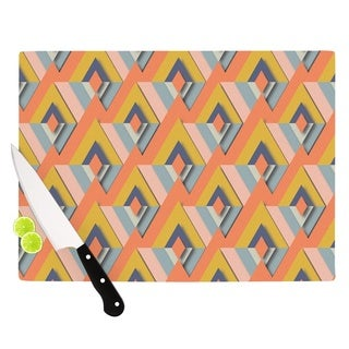 Kess InHouse Akwaflorell 'So Cool' Orange and Yellow Glass Cutting Board