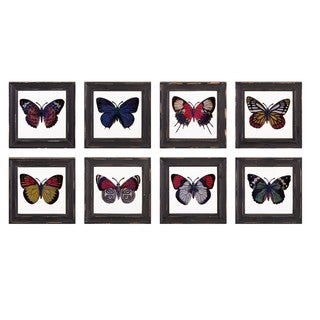 Butterfly Framed Glass Wall Décor - Ast 8