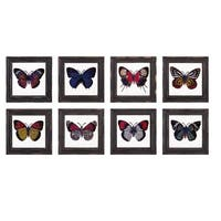 Butterfly Framed Glass Wall Décor - Ast 8 - Multi-color - N/A