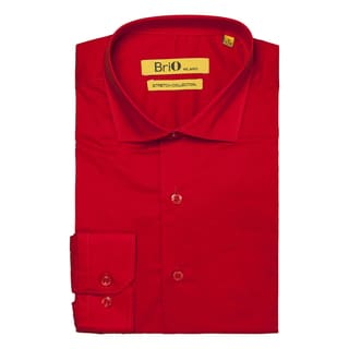 Brio Milano Mens Long Sleeve Solid Red Dress Shirt