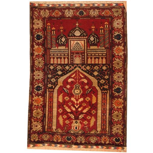 Handmade Herat Oriental Afghan Tribal Balouchi Wool Rug - 2'8 x 4' (Afghanistan)
