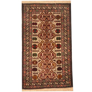 Herat Oriental Afghan Hand-knotted Tribal Balouchi Wool Rug (2'6 x 4'4)