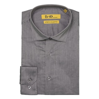 Brio Milano Mens Long Sleeve Solid Grey Dress Shirt