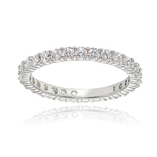 Icz Stonez Sterling Silver Cubic Zirconia 2mm Round-cut Eternity Band Ring