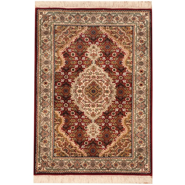 Herat Oriental Indo Hand-knotted Tabriz Wool & Silk Rug (2'3 x 3'2)