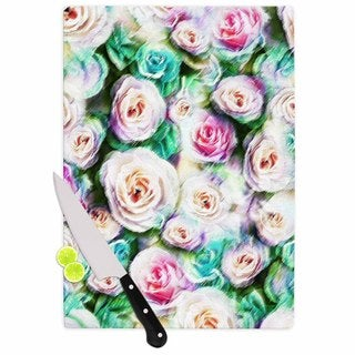 KESS InHouse Dawid Roc 'Bright Rose Floral Abstract' Green Floral Cutting Board