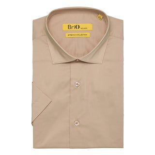 Brio Milano Mens Short Sleeve Solid Khaki Dress Shirt
