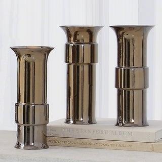 Metallic Bronze Reactive Glaze Finish Portuguese Ceramic Mini Low Collar Vase