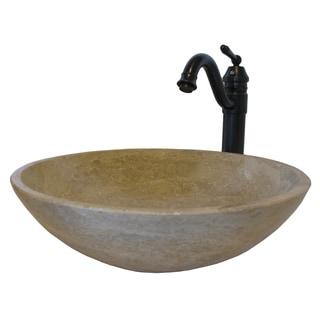Novatto Beige Travertine Stone Vessel Sink Set, Oil Rubbed Bronze