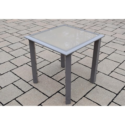 Sydney Aluminum/Glass Screen-printed Side Table