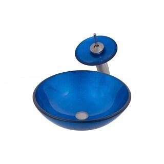 Novatto VERDAZZURRO Glass Vessel Bathroom Sink Set, Brushed Nickel