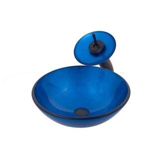 Novatto VERDAZZURRO Glass Vessel Bathroom Sink Set, Oil Rubbed Bronze