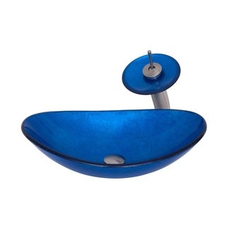 Novatto AZZURRO Glass Vessel Bathroom Sink Set, Brushed Nickel