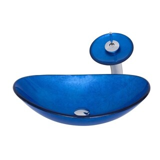Novatto AZZURRO Glass Vessel Bathroom Sink Set, Chrome