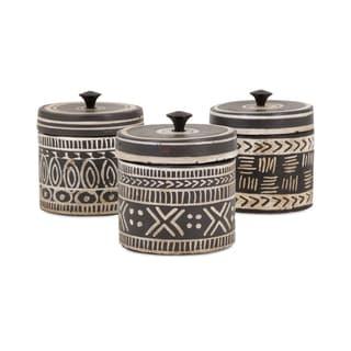 Tribal Lidded Jars - Ast 3