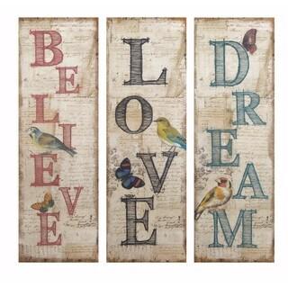 Viscaria Dream Believe Love Wall Décor - Ast 3