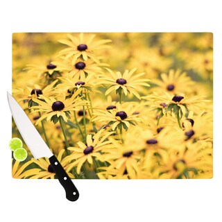 Kess InHouse Debbra Obertanec 'Pantone Yellow' Flower Daisy Tempered Glass Cutting Board