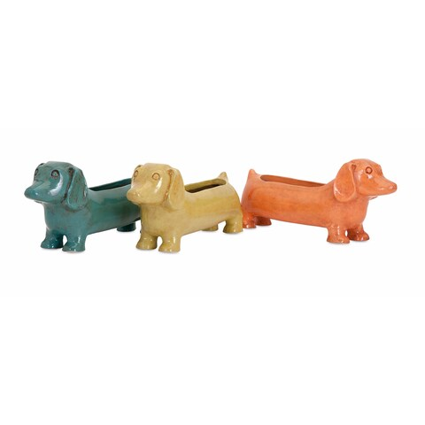 Dachshund Planters (set of 3) /6.5 inches high x 4.25 inches wide x 15 inches long