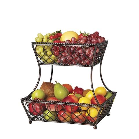 Gourmet Basics by Mikasa Loop and Lattice 2-tier Basket
