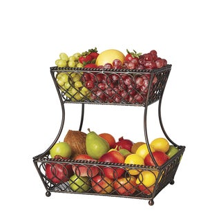 Gourmet Basics by Mikasa Loop and Lattice 2-tier Basket