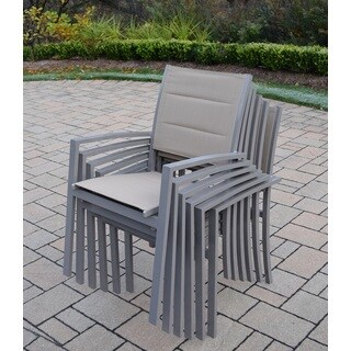 Sydney Taupe Aluminum/Synthetic Padded Sling Stackable Chairs (Pack of 6)