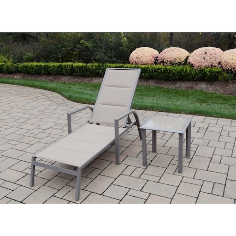Sydney Padded Sling Chaise Lounge and Side Table Set