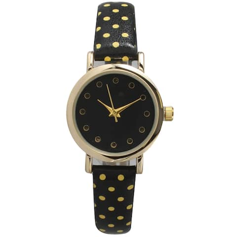 Olivia Pratt Women's Two-tone Leather Polka-dot Petite Watch