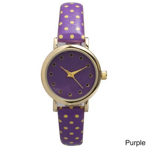 Olivia Pratt Women's Two-tone Leather Polka-dot Petite Watch