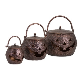 Lidded Pumpkins Brown - Set of 3