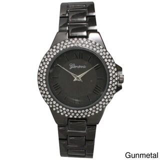 Olivia Pratt Metal Alloy Rhinestone Women's Bezel Basket Link Bracelet and Watch