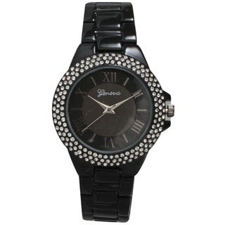 Olivia Pratt Metal Alloy Rhinestone Women's Bezel Basket Link Bracelet and Watch