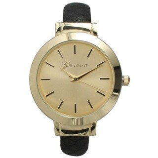 Olivia Pratt Women's Pebbled Genuine Leather Petite Bangle Watch