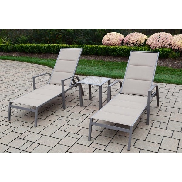 Engelhard 3-piece Padded Chaise Lounge and Side Table Set by Havenside Home