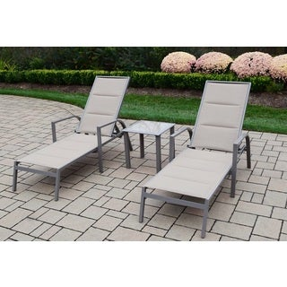 3-piece Sydney Padded Sling Chaise Lounge and Side Table Set